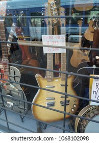 OSLO, NORWAY - CIRCA AUGUST 2017: double neck guitar - 12 and 6 strings - on display in a store in Oslo