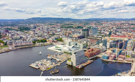 Oslo, Norway. City center from the air. Embankment Oslo Fjord. Oslo Opera House, From Drone