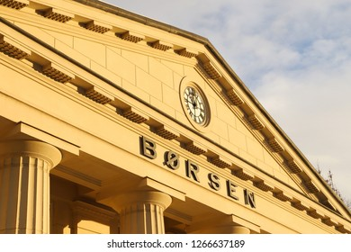 OSLO, NORWAY - DECEMBER 12, 2018: Close up view of the Norwegian stock exchange building (Borsen) in Oslo city centre, Norway