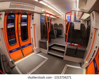 Oslo, Norway - December 28, 2018: Distorted view of the interior of one of the very successful Stadler FLIRT regional trains operated by Norwegian State Railways around Oslo.