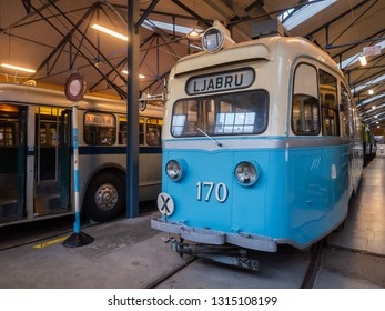Oslo, Norway - December 29, 2018: Goldfish tram at Oslo Transport Muesum Majorstuen, Oslo, Norway. The Goldfish got its name because of its streamlined rear and was manufactured in 1939.