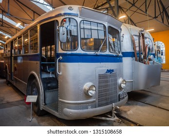 Oslo, Norway - December 29, 2018: Aluminium bus Type B7 at Oslo Transport Muesum Majorstuen, Oslo, Norway. The B7 was manufactured in 1939 by Strommens Verksted in Strommen, Norway.