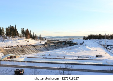 Oslo, Norway - December 30, 2018: Holmenkollbakken of the biathlon stadium located at Holmenkollen in Oslo, Norway.