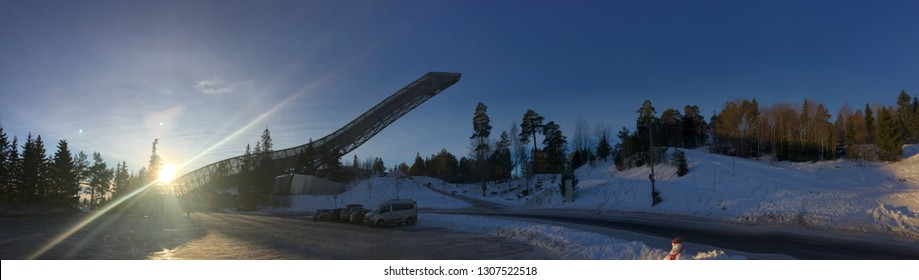 Oslo, Norway - December 30, 2018: Holmenkollbakken is a large ski jumping hill located at Holmenkollen in Oslo, Norway.