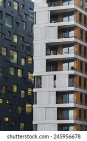 OSLO, NORWAY - DECEMBER 31, 2014: New apartment blocks called 'Barcode buildings' in Oslo, Norway. The Barcode buildings are a redevelopment on former dock and industrial land in central Oslo.