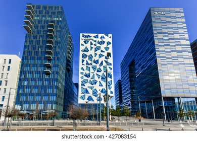 Oslo, Norway - February 28, 2016: Modern business architecture in the center of Oslo, Norway.