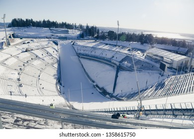 OSLO, NORWAY - Februrary 11, 2019: Holmenkollen National Ski Arena is a favorite place for high ski jumper