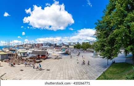 Oslo Norway harbor is one of Oslo's great attractions in a summer day