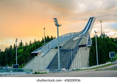 Oslo, Norway.  Holmenkollen ski jump located in Oslo, Norway. Taken on 2016/07/06