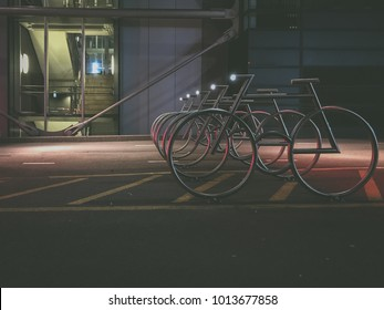 Oslo, Norway - Jan 07 2018: Modern Bike racks at Barcode designed by MAD Architects. Barcode district is a section of Bjørvika in Oslo, Norway.