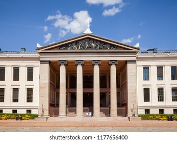 OSLO, NORWAY - JULY 12, 2018: Neoclassical facade of the University of Oslo Faculty of Law (Domus Media), a venue for the Nobel Peace Prize ceremony in 1947–1989