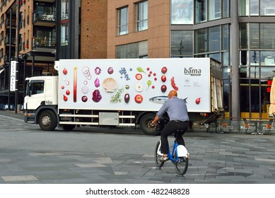 OSLO, NORWAY - JULY 13, 2016:BAMA Food Services (BAMA Storkjokken) are largest provider of fruit and vegetables in Norwey. Truck brought meals in shops and restaurants of Aker Brygge