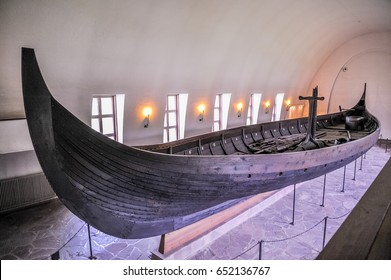 OSLO, NORWAY - JULY 14: Viking drakkar in Viking museum in Bygdoy, Oslo, Norway