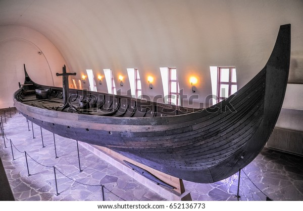 OSLO, NORWAY - JULY 14: Viking drakkar in Viking museum in Bygdoy, Oslo, Norway