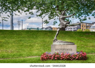 Oslo, Norway - July 18, 2016: Monument of Sonja Henie. Sonja Henie (8 April 1912 12 October 1969) was a Norwegian figure skater and film star.