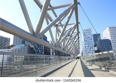 Oslo, Norway – July 19, 2018: Akrobaten pedestrian bridge in Bjorvika district. Modern business architecture in the center of Oslo.  Bridge across the tracks of Oslo central station.