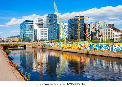 OSLO, NORWAY - JULY 20, 2017: The Barcode Project is a section of the Bjorvika quartal of the Fjord City in centre of Oslo, Norway