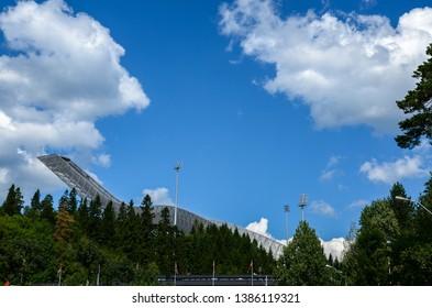OSLO, NORWAY - JULY 23, 2014: Holmenkollbakken or Holmenkollen Ski Jump Tower in Oslo, capital city of Norway