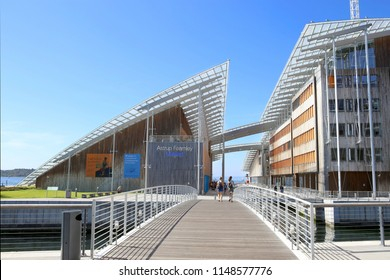 Oslo, Norway - July 24, 2018: Astrup Fearnley Museum of Modern Art. Astrup Fearnley Museum is contemporary art gallery in the centre of Oslo, designed by Renzo Piano. It consists of two buildings.