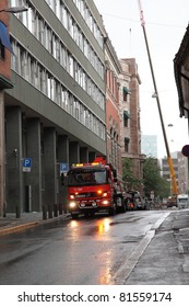OSLO, NORWAY - JULY 24 : Truck at explosion street two days after attacks  on July 24, 2011 in Oslo