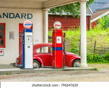 OSLO, NORWAY - JULY 27, 2013: Old Standard Oil gas station. The Norwegian Museum of Cultural History or Norsk Folkemuseum. Landmark of Oslo, Norway capital