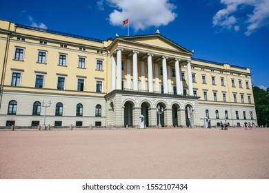 OSLO, NORWAY - JULY 28, 2019: The Royal palace of Oslo on a sunny summer day. It was built in the first half of the 19th century as the Norwegian residence of the French-born King Charles III