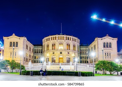 OSLO, NORWAY - JULY 28: Stortinget, Norwegian parliament on July 28, 2016. The building was designed by the Swedish architect Emil Victor Langlet and has been used by legislature since March 5, 1866.