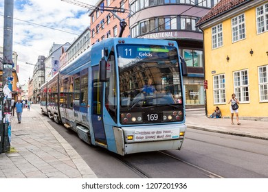 OSLO, NORWAY - JULY 29, 2014:  The Oslo Norway Harbor is one of Oslo's great attractions. Situated on the Oslo Fjord in Oslo, Norway in a summer day