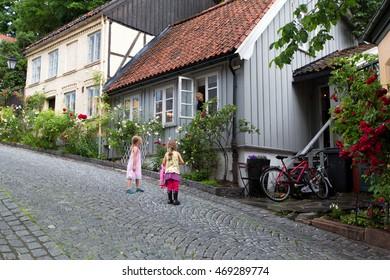 OSLO, NORWAY - JULY 29, 2016: Wooden house on Damstredet Street in Oslo, Norway
