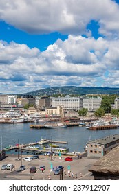 OSLO, NORWAY - JULY 29: The Oslo Norway Harbor is one of Oslo's great attractions. Situated on the Oslo Fjord in Oslo, Norway on July 29, 2014