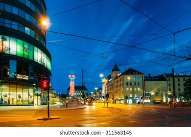 OSLO, NORWAY - JULY 31, 2014: Night View of Kirkeristen street in Oslo, Norway. Summer evening