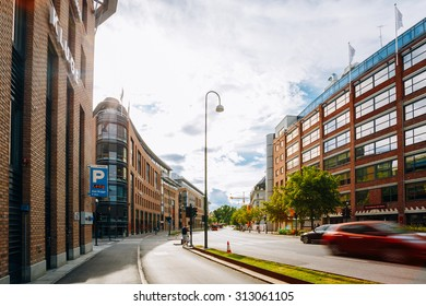 OSLO, NORWAY - JULY 31, 2014: Typical Example Of Scandinavian Architecture - Exterior Office Building in Munkedamsveien Street