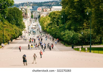 OSLO, NORWAY - JULY 31, 2014: Main street Karl Johans Gate leading to the Royal Palace
