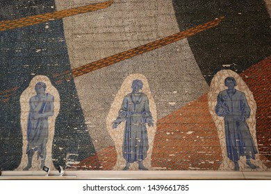 OSLO / NORWAY - JUNE 08 2019: Old fresqoes on the walls of the Oslo's Cathedral. Interior of Oslo Cathedral