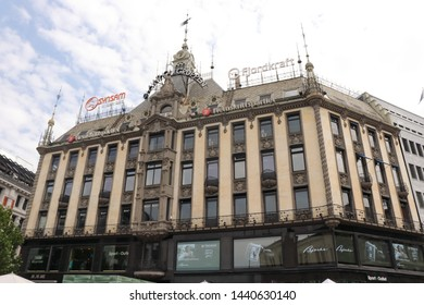 OSLO / NORWAY - JUNE 08 2019: Building on the Karl Johans street in the Oslo.