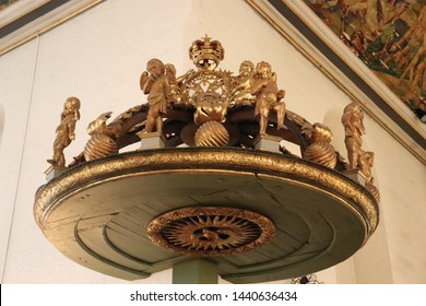 OSLO / NORWAY - JUNE 08 2019: Old decorations in Oslo's Cathedral. Interior of Oslo Cathedral