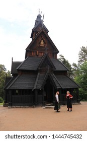 OSLO / NORWAY - JUNE 08 2019: Stavkirke (stave church) in the Folks museum Oslo, old wooden church