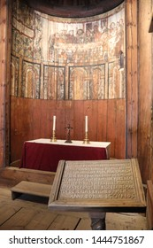 OSLO / NORWAY - JUNE 08 2019: Paintings in the Stavkirke (stave church) in the Folks museum Oslo, old wooden church. Interior of the Stavkirke