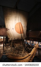 OSLO / NORWAY - JUNE 08 2019: The Ra II vessel in the Kon-Tiki Museum in Oslo, Norway