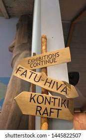 OSLO / NORWAY - JUNE 08 2019: Signs in the Kon Tiki museum. Interior of the Kon Tiki museum