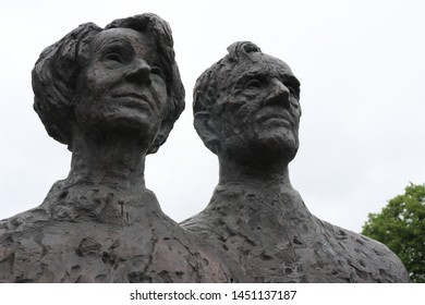 OSLO / NORWAY - JUNE 08 2019: Bust of Helge Ingstad and Anne Stine Ingstad outside the Viking Ship Museum in Oslo