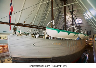 Oslo, Norway - June 09, 2010: Polar Ship Fram at the Fram Museum in Oslo, Norway. Ship was used by the Norwegian explorers in expeditions to the Arctic and Antarctic regions.