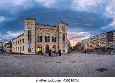 OSLO, NORWAY - JUNE 12, 2014: Panorama of Nobel Peace Center in Oslo. The Nobel Peace Center was opened in 2005 by His Majesty King Harald V of Norway.