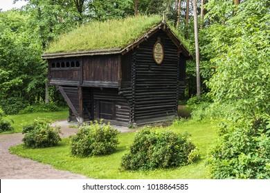 OSLO, NORWAY - JUNE 14, 2017: Open Air Norwegian Museum of Cultural History (1881). Old Wooden Norwegian house.
