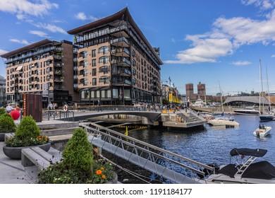 OSLO, NORWAY - JUNE 14, 2017: Modern Scandinavian Architecture: Oslo Bolette brygge. Bolette brygge are pedestrian streets along the canal between Aker Brygge and Tjuvholmen.