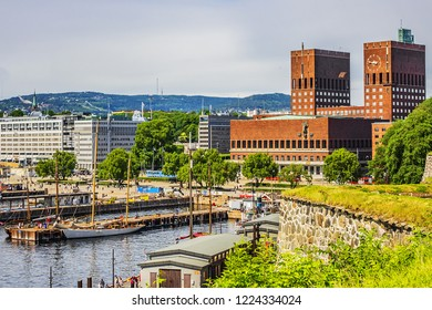 OSLO, NORWAY - JUNE 14, 2017: Oslo skyline with port and Aker Brygge. The Oslo Norway harbor is one of Oslo's great attractions.
