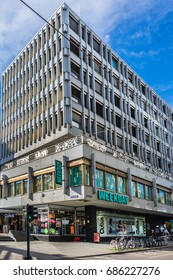 OSLO, NORWAY - JUNE 14, 2017: Street scene in Oslo city center. Oslo - capital city of Norway.
