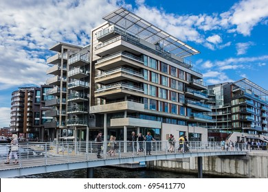 OSLO, NORWAY - JUNE 14, 2017: Modern buildings at redevelopment neighborhood Tjuvholmen (former shipyard) in the borough Majorstuen in Oslo.