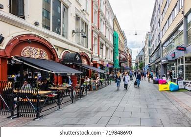 OSLO, NORWAY - JUNE 14, 2017: Street scene in Oslo city center. Oslo, capital city of Norway.