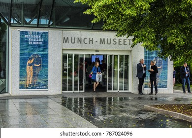 OSLO, NORWAY - JUNE 14, 2017: Entrance to the Munch museum in Oslo. Norway, it has a large collection of the world famous painters work.